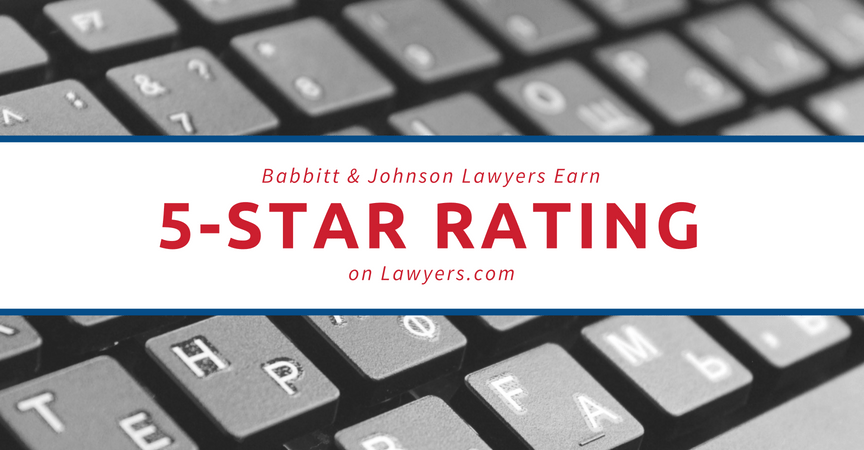 Babbitt & Johnson Lawyers Earn 5-Star Rating and Award on Lawyers.com