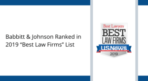 babbitt and johnson ranked in 2019 best law firms list